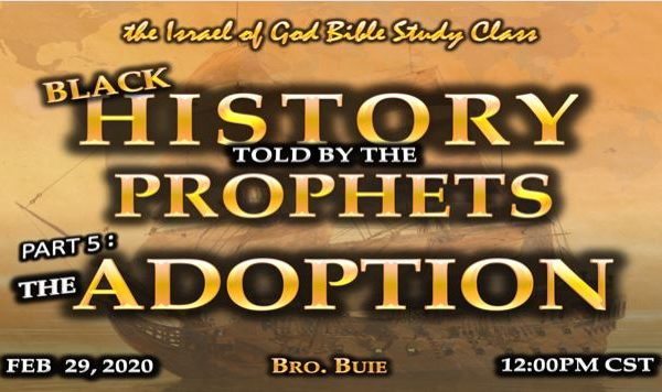 Graphic for IOG lesson 'Black History Told By The Prophets Part 5: The Adoption'