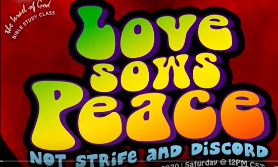 Graphic for IOG lesson title Love sows peace, not strife and discord