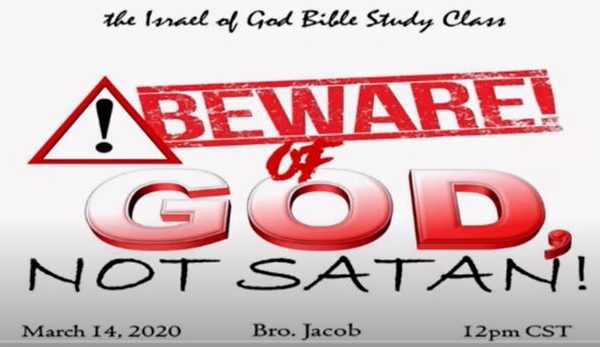 """Text graphic for Sabbath lesson title """"Beware of God, Not of Satan"""" taught by Bro. Jacob"""
